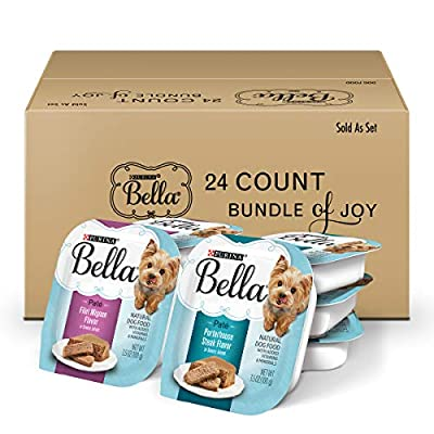 Twenty-Four (24) 3.5 Oz. Trays - Purina Bella Bundle Of Joy With Filet Mignon & Porterhouse Steak Flavor In Savory Juices Variety Pack Dog Food Formulated For Small Adult Dogs Supports Health Throughout The Longer Life Expectancy Of Small Dogs Small-...