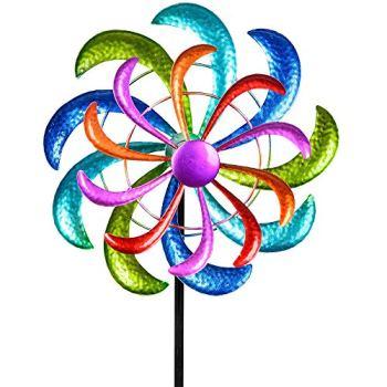 Formano Moulin à vent coloré - 124 x 30 cm - Décoration de jardin