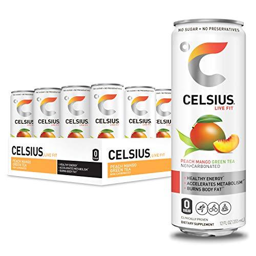 CELSIUS Peach Mango Green Tea Non-Carbonated Fitness Drink, Zero Sugar, 12oz. Slim Can, 12 Pack