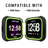 Landhoo Fitbit Versa Screen Protector Versa Lite Case, Shock Proof Bumper Cover Scratch Resistant Protective Rugged Case Replacement for Fitbit Versa & Versa Lite Smart Watch(Black/Yellow)