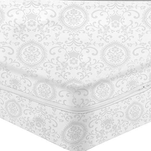Caritex Fodera Coprimaterasso in Cotone Damasco con Cerniera - Dimensioni Varie S514 Singolo