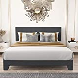 Amolife King Size Fabric Upholstered Platform Bed Frame with Adjustable Headboard/Wood Slat Support/No Box Spring Needed/Easy Assembly, Dark Grey