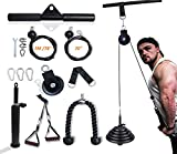 Fitness LAT Cable Pulley System, Home Fitness Equipment DIY, Triceps Pull-Down Machine with Upgraded Loading Pin, Forearm, Shoulder, Biceps Curl, Chest Fitness Training