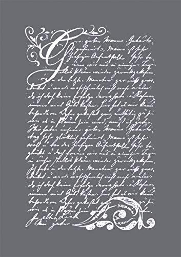Rayher 45067000 Schablone Motiv: Vintage Poesie, DIN A5, 14,8 x 21 cm, mit Rakel, Siebdruck-Schablone, Malschablone, selbstklebend
