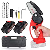 Mini ChainSaw Cordless with 2 Battery, 4 Inch Electric Power Chain Saw, One-Hand Operated Portable Pruning Saw for Farming Tree Limbs, Garden Pruning, Bonsai Trunk, and Firewood