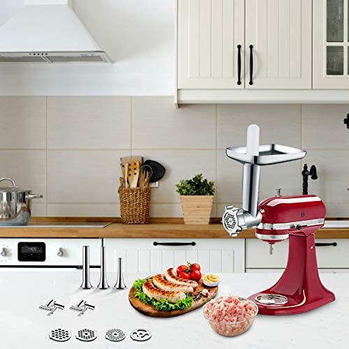 2 PCS Metal Food Grinder & Slicer Shredder Attachments for KitchenAid Stand Mixer, Cofun Durable Meat Grinder and Slicer Maker Set By Cofun