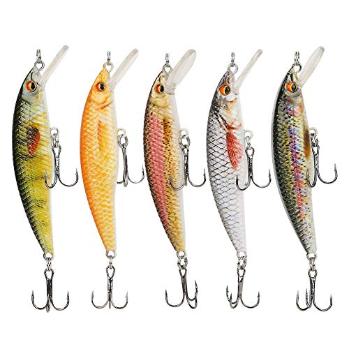 Esche da Pesca realistiche in plastica, Pesca Accessori,Esche da Pesca, Esche da Pesca, Bambini Adulti per Pesci d'Acqua Dolce/salata(5-Color Box, 8CM-7G-6#Hook