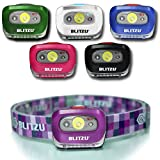 BLITZU LED Headlamp Flashlight for Adults and Kids - Waterproof Super Bright Cree Head Lamp with Red Light, Comfortable Headband Perfect for Running, Camping, Hiking, Fishing, Hunting, Jogging Purple