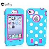 iPhone 4s Case, iPhone 4 Case, Magicsky iPhone 4g New Case with Polka Dots Pettern Full Body Hybrid Impact Shockproof Defender Case Cover for Apple iPhone 4/4s, 1 Pack(Polka Dots Blue Pink/Blue)