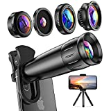 Lieront Obiettivo per Smartphone, Kit 10 in 1 con Teleobiettivo 25x, Grandangolo 0.65x, Fisheye 210° e Macro 25x, Versione Aggiornata Lenti Blu-ray per...