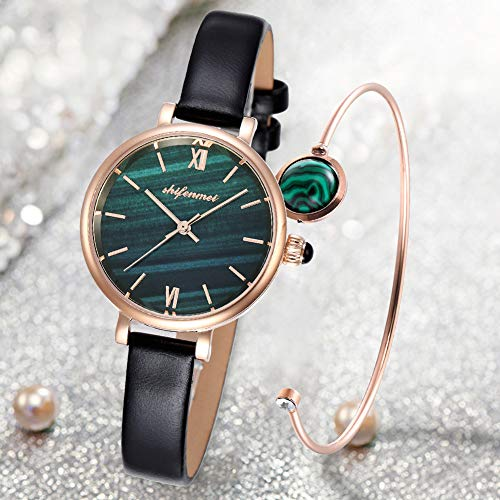 Women Watches Bracelet Set, shifenmei Quartz Movement Wrist Watch for Girls Ladies, Women Classic Style Leather Band Watch with Jewelry Cuff Bracelet