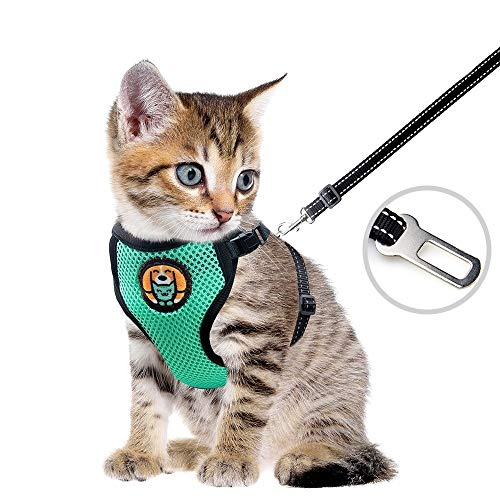 AWOOF Reflective Kitten Harness and Leash Escape Proof with Car Seat Belt, Adjustable Cat Puppy Walking Jacket with Metal Leash Ring, Soft Breathable Small Pet Vest (S)