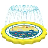 HITOP Kids Sprinklers for Outside, Splash Pad for Toddlers & Baby Pool 3-in-1 60' Water Toys Gifts for 1 2 3 4 5 Year Old Boys Girls Splash Play Mat (Ocean)