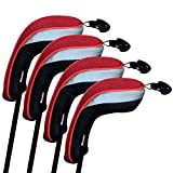 Andux Golf Hybrid Club Head Covers Set of 4 Interchangeable No. Tag MT/HY01 (Red)