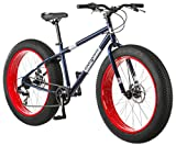 Mongoose Dolomite Mens Fat Tire Mountain Bike, 26-inch Wheels, 4-Inch Wide Knobby Tires, 7-Speed, Steel Frame, Front and Rear Brakes, Navy Blue