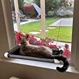 Lcybem Cat Hammocks for Window - Seat Suction Cups Space Saving Cat Bed, Pet Resting Seat Safety Cat Window Perch for Large Cats, Providing All Around 360° Sunbath for Indoor, Weighted up to 33lbs