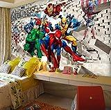 3d Photo Papier Peint 3d Dessin Animé Chambre D'enfants Papier Peint Avengers...