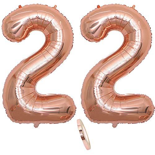2 Globos Número 22 Años, Number 22Globo Chica de oro rosa, 40'Figuras de globos con globo de lámina de helio inflable, Globo gigante para la decoración de la fiesta de cumpleaños, Prom (xxxl 100cm)