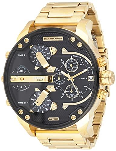 Diesel Herren Analog Quarz Uhr mit Edelstahl Armband DZ7333