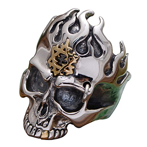 FORFOX Vintage 925 Sterling Silver Fire Skull Ring Jewellery with Gold Star of David for Men Women