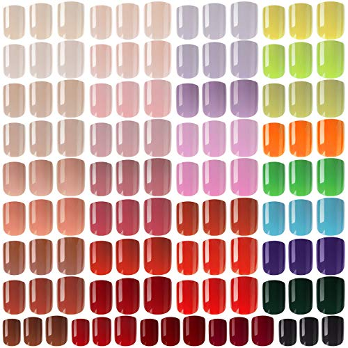 888 Pieces Colorful Short False Nails Square Artificial Fake Nail Full Cover Coffin Press on Nails Colorful 37 Sets Full Cover Artificial Acrylic Nails (Bright Colors)