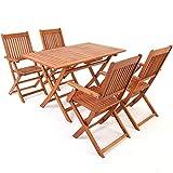 Deuba Sitzgruppe Sydney 4+1 Akazienholz 5-TLG Tisch klappbar Sitzgarnitur Holz Garten Möbel Set