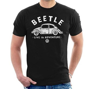 Volkswagen Beetle White Live The Adventure Men's T-Shirt, Black, L