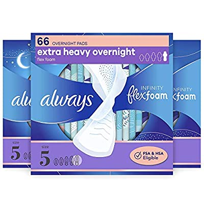 Zero Feel. Feels like nothing, protects like nothing else ALWAYS Infinity Size 5 Extra Heavy Overnight Pads with Wings for our best nighttime protection Add to your best daytime pad protection with 60% larger back vs. Infinity Size 1 Regular Up to 12...