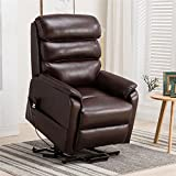 Irene House (Dual Motor) Lays Flat Electric Power Lift Recliner Chair for Elderly Comfortable (Breath Leather ),Soft and Sturdy (Red Brown Leather)