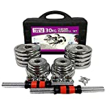 BestJ Adjustable Dumbbell Set for Men 66Lbs Home Gym Dumbbells Pair 110Lbs Women Workout Barbell Weights with Carry Box 44Lbs (66LB or 30KG Dumbbell)