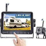 Leekooluu LK4 HD 1080P Digital Wireless Backup Camera System for RVs/Trucks/Trailers/Motorhomes,Upgraded 5'' Touch Button Screen,IR Night Vision IP69K Waterproof,Support 2 Wireless Cameras