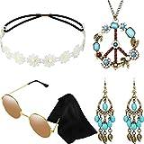 Hicarer Conjunto de Disfraces de Hippie Incluye Gafas de Sol, Diadema, Collar de Signo de Paz y...