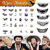 Tatuajes Temporales Halloween-20 Hojas Pegatinas de Tatuajes Infantiles para...