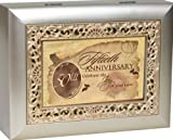 Cottage Garden 50th Anniversary Silvertone Gold Inlay Jewelry Music Box Plays Unchained Melody