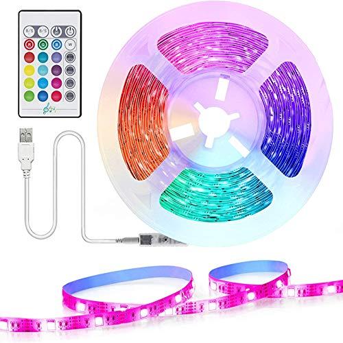USB Striscia LED TV, TASMOR 2M 5050 LED Retroilluminazione TV Striscia RGB Multicolor 16 Colori e 4 Modalit, Luci Led Kit TV per HDTV da 40-60 Pollici PC Monitor e Camera da Letto 5V 1A
