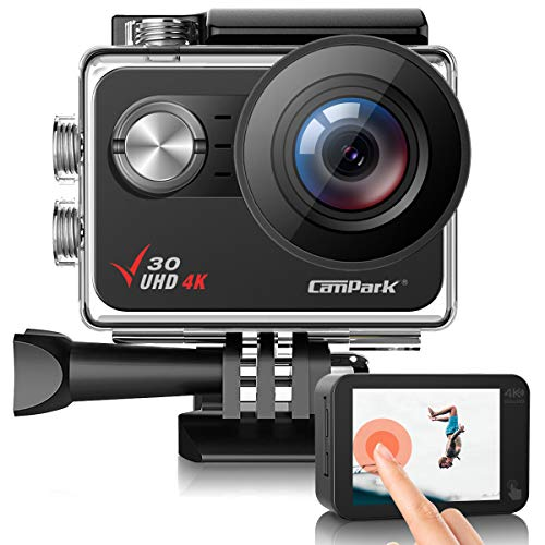 Campark V30 Nativo Action Cam 4K 20MP WiFi Touch Screen EIS 40M Impermeabile Fotocamera Subacquea, Obbiettivo Grandangolare Regolabile 2×1350mAh Batterie, 1 Caricabatterie e Kit di Accessori