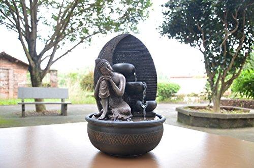 Zen\'Light Brunnen Buddha Grace, Harz, Bronze, 26 x 26 x 40 cm