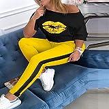 Pantalones Jeans Conjuntos De Chándal con Estampado De Labios para Mujer Ladysummer Sexy Fuera del Hombro 2 Piezas Conjunto Blusa Elegante + Cintura Elástica Conjuntos De Pant