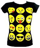 GIRLS T-SHIRTS & LEGGINGS EMOJI EMOTICONS SMILEY FACES SHORT SLEEVE TOPS 7-13 Y, Black, 13 years