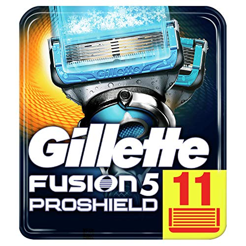 Gillette Fusion 5 Proshield Chill Lamette di Ricambio per Rasoio Uomo, Confezione da 11 Lamette