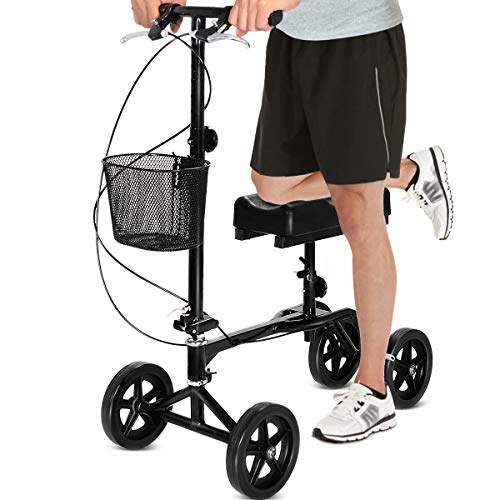 Giantex Folding Knee Scooter with Basket, Steerable Knee Walker Deluxe Crutch Alternative, Non-Slip Foam Knee Pad, Dual Braking System, Medical Knee Scooter Cycles for Foot Ankle Injuries