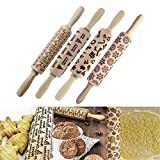Christmas Wooden 3D Rolling Pins,Embossing Natural Wood Carved Engraved Rolling Pin with Christmas Pattern for Baking Embossed Cookies,Rolling Pin Kitchen Tool 14inch 4 pack