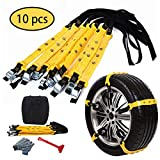 PrettyQueen 10 Pcs Snow Tire Chains for Car, Adjustable Snow Cable Chains Universal Fit for Most Car/Jeep/Truck/SUV, Width 185-295mm/7.2-11.6 inches