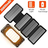 Solar Charger 26800mah Power Bank 4 Solar Panels 60 LEDs PD Fast Charge External Battery Pack with 3 USB Output Compatible with Cellphone Tablet and More for Camping Hiking and Hurricane Emergency