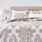 Amazonbasics 300TC 100% Cotton Comforter Set, Reversible 3-piece, Super Soft - Full/Queen, Ivory Paisley Medallion