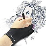 Huion Guanto di disegno artistico anti-frizione per Tavoletta grafica da disegno Taglia unica con due dita per Mano destra e Mano sinistra – Pacco da 1