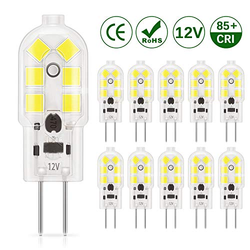 DiCUNO lampadina 10-Pack G4 1.5W LED, 180LM, AC/DC 12V lampadine Equivalente a 20W, Bianco freddo...