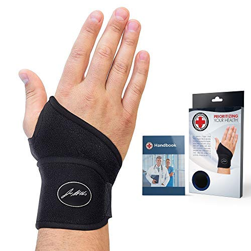 Doctor Developed Premium Copper Lined Wrist Support/Wrist Strap/Wrist Brace/Hand Support [Single]& Doctor Written Handbook Suitable for Both Right and Left Hands