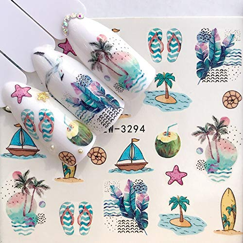 1 Sheet 2019 Summer Beach Water Decal Xmas Sticker for Nail Pattern Painting Wrap Paper Foil Tip Tattoo Manicure