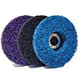 M-jump 3 PCS 4-1/2' x 7/8' Black/Blue/Purple Stripping Wheel Strip Discs for Angle Grinders Clean & Remove Paint, Coating, Rust and Oxidation for Wood Metal Fiberglass Work